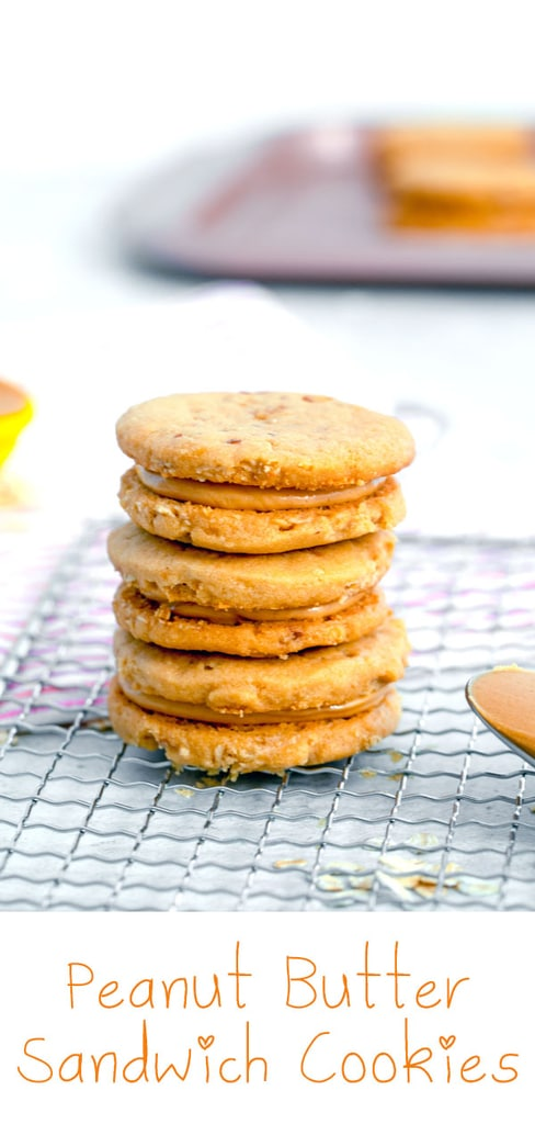 Peanut Butter Sandwich Cookies -- These Peanut Butter Sandwich Cookies are amazingly sweet and delicate and a must-make for any peanut butter lover! | wearenotmartha.com #cookies #peanutbutter #sandwichcookies #peanutbuttercookies