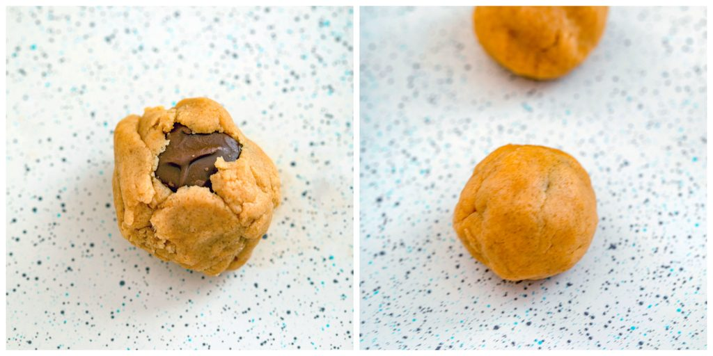 Collage showing process for forming peanut butter cookie dough around Snickers, including dough folded around mini candy bar and dough formed into ball