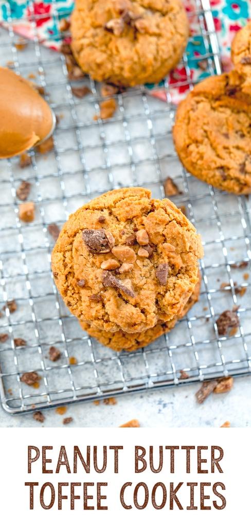 Peanut Butter Toffee Cookies -- Simple to bake, but absolutely delicious, these Peanut Butter Toffee Cookies will remind you that chocolate-covered toffee is the perfect baked good add-in! | wearenotmartha.com #cookies #toffee #peanutbutter