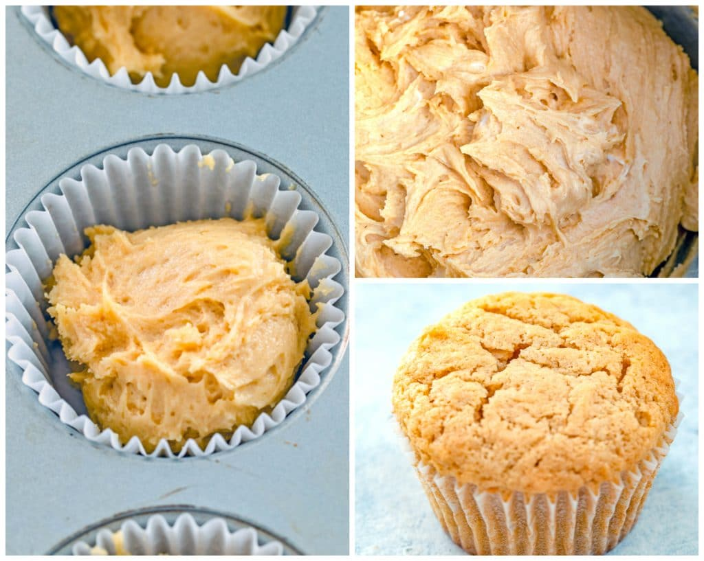Collage showing process for making peanut butter and jelly cupcakes, including batter in mixing bowl, batter in baking tin, and baked cupcake cooling
