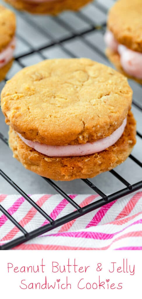 Peanut Butter and Jelly Sandwich Cookies -- Enjoy a childhood favorite in cookie form! These Peanut Butter and Jelly Sandwich Cookies are made with peanut butter oat cookies and raspberry jelly buttercream | wearenotmartha.com #cookies #sandwichcookies #peanutbutterandjelly #peanutbuttercookies