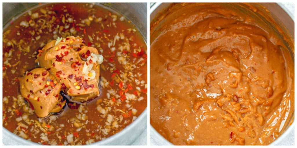 Collage showing process for making peanut sauce, including ingredients in saucepan and sauce cooked and thickened in saucepan