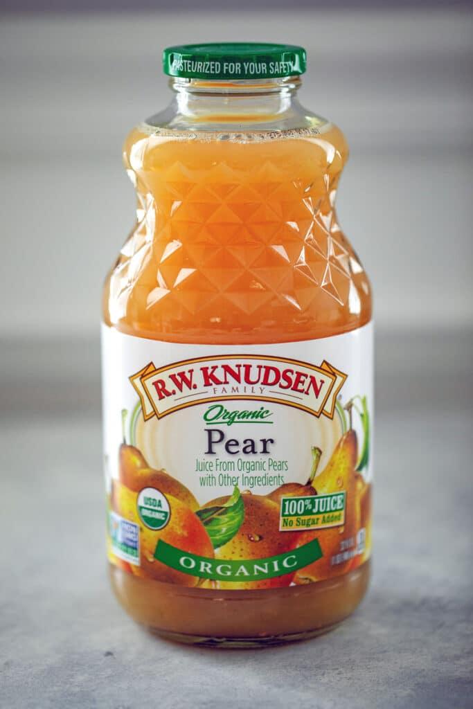 Bottle of pear juice