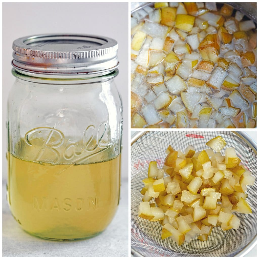 Collage showing process for making pear simple syrup, including pears simmering in sugar and water, pears being strained out of syrup, and pear simple syrup in a mason jar