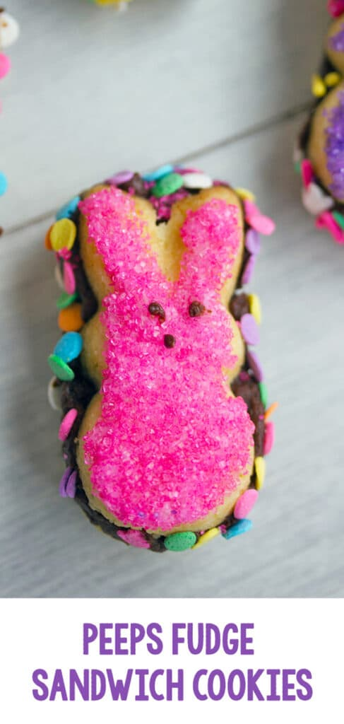 Peeps Fudge Sandwich Cookies -- Whether you love or hate Peeps, there's no denying that these Peeps cookies are adorable! Filled with chocolate fudge and covered in sprinkles, these cookies are the perfect Easter dessert | wearenotmartha.com #peeps #cookies #easter #eastercookies #sandwichcookies
