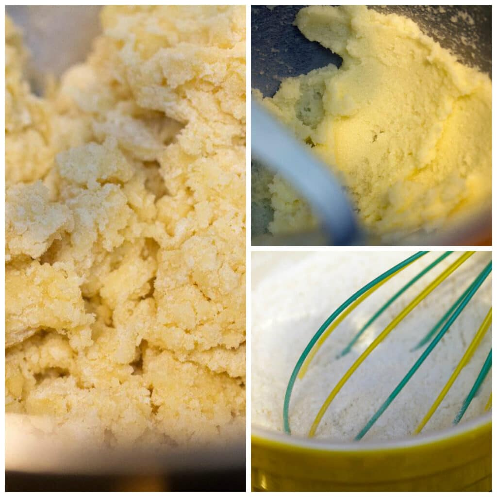 Collage showing process for making cookies, including mixing batter and whisking dry ingredients