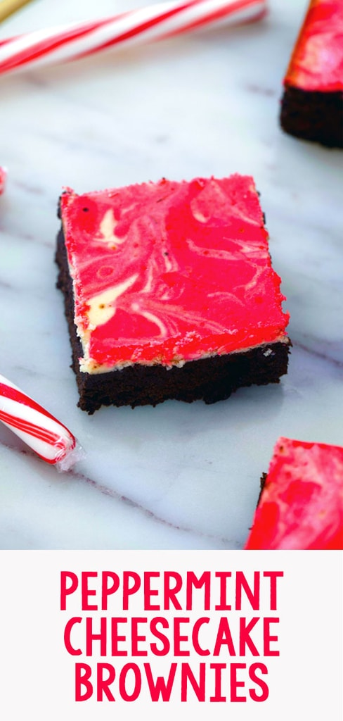 Peppermint Cheesecake Brownies -- These Peppermint Cheesecake Brownies are packed with festive peppermint flavor with a dreamy red and white swirl, making them the perfect holiday party dessert | wearenotmartha.com #peppermint #cheesecake #brownies #christmas #holidays