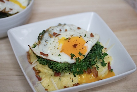 Pesto Polenta with Crispy Kale, Bacon, and Egg: The perfect breakfast or dinner! | wearenotmartha.com
