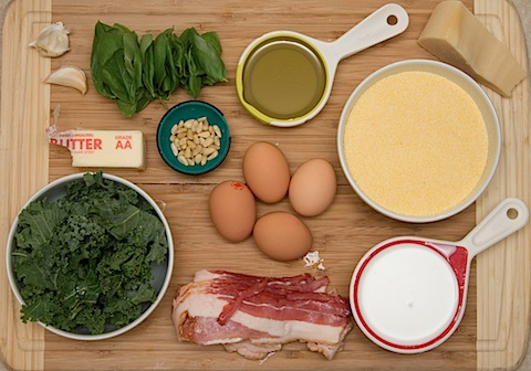 Pesto Polenta with Crispy Kale, Bacon, and Egg Ingredients.jpg