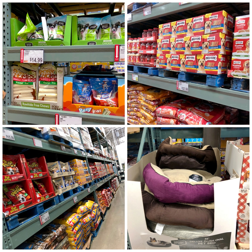 A collage showing the pet aisle at BJ's Wholesale Club, including shelves with dog food, dog treats, and dog beds