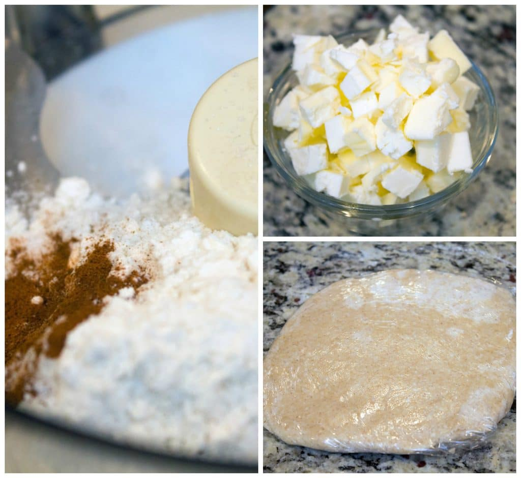 Collage showing process for making pie crust cookies, including bowl food processor with flour and cinnamon, bowl of chopped chilled butter, and pie crust wrapped in plastic wrap