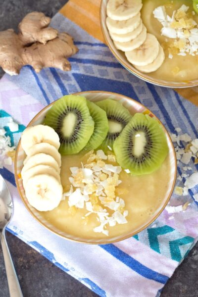 Pineapple Banana Ginger Smoothie Bowl -- This simple-to-make healthy Smoothie bowl is packed with vitamins and antioxidants and the the perfect way to start your day | wearenotmartha.com