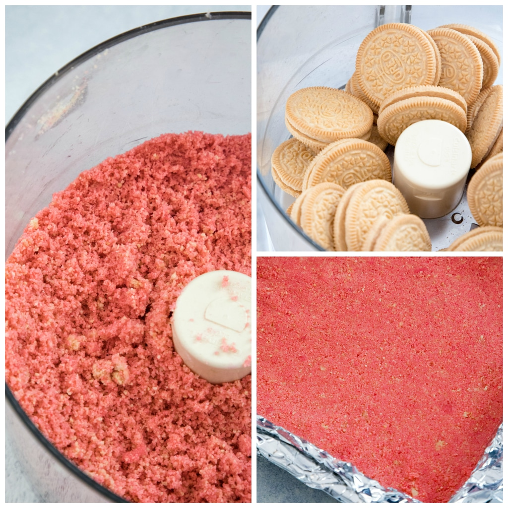 Collage showing how to make pink cookie crust with Golden Oreo Cookies in food processor