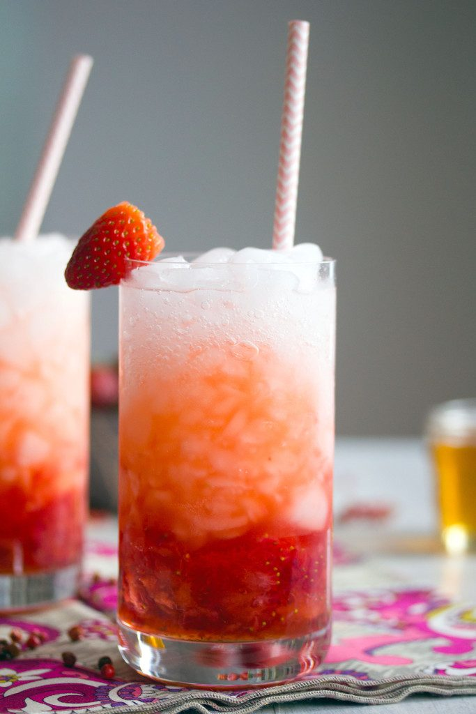 Pink Peppercorn Strawberry Sipper -- Sweet and spicy Valentine's Day cocktail | wearenotmartha.com