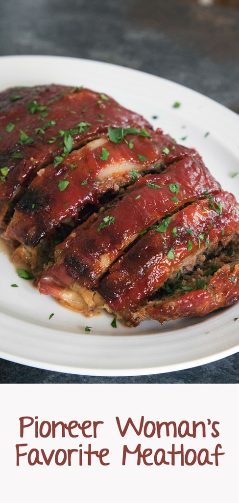 Pioneer Woman's Meatloaf -- Meatloaf doesn't get a lot of love. But The Pioneer Woman's meatloaf will certainly change that. This meatloaf is covered in bacon and a delicious brown sugar ketchup sauce | wearenotmartha.com #meatloaf #pioneerwoman #bacon