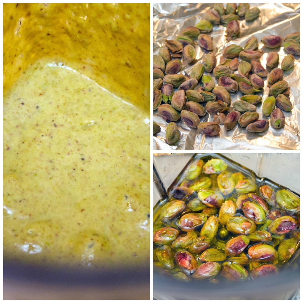 Collage showing pistachio dressing making process, including toasted pistachios, pistachios in blender with olive oil, and pistachio dressing blended together in blender