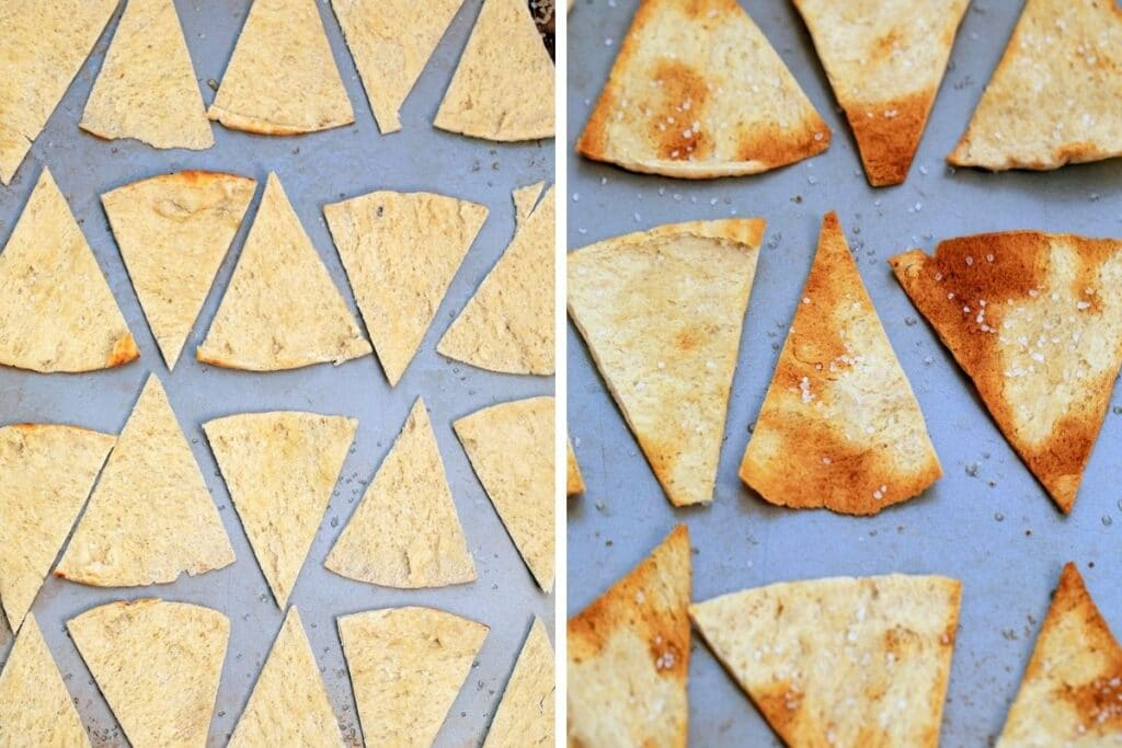 Collage showing pita bread cut in triangles on baking sheet and homemade pita chips on baking sheet