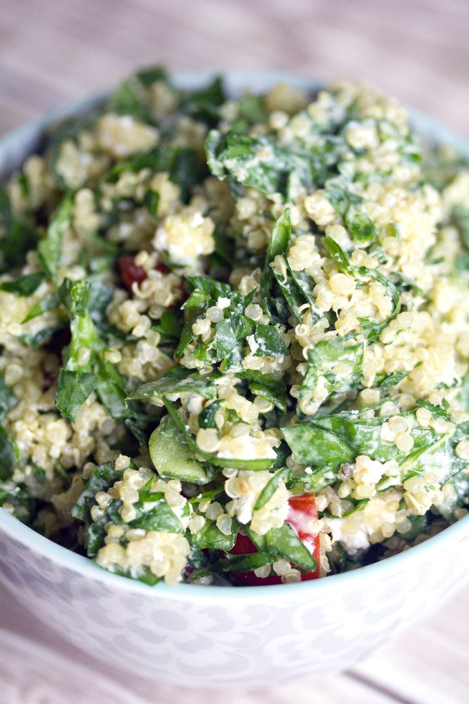 Chopped Spinach and Quinoa Goat Cheese Caesar Salad -- The perfect pizza accompaniment | wearenotmartha.com