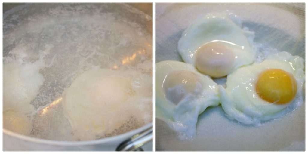 Collage showing egg poaching, including eggs cooking in saucepan of simmering water and poached eggs on paper towel-lined plate