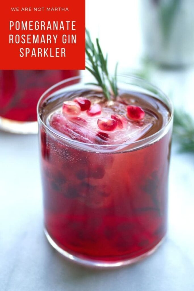 Looking for a delicious holiday cocktail? This Pomegranate Rosemary Gin Sparkler is pretty and tasty! It's great for serving all winter long | wearenotmartha.com #pomegranatedrinks #easycocktails #holidaycocktails #gincocktails
