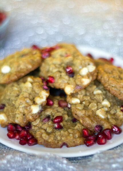 Pomegranate White Chocolate Oatmeal Cookies