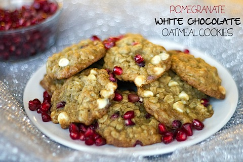 Pomegranate White Chocolate Oatmeal Cookies | We are not Martha