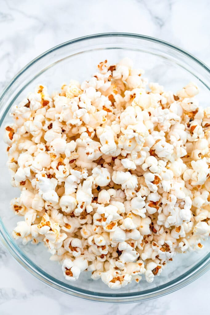 Overhead view of popped popcorn in bowl