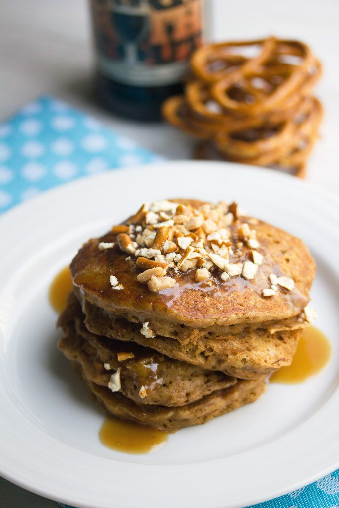 Pretzel Stout Pancakes with Toffee Sauce -- a sweet and salty breakfast treat with a strong stout flavor, sure to make any beer lover have a happy morning | wearenotmartha.com