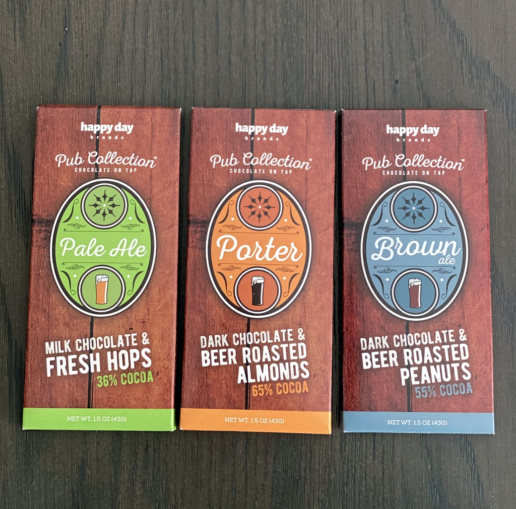 Three kinds of beer chocolate bars (pale ale, porter, and brown ale)