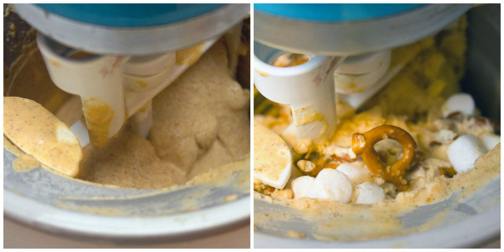 Collage showing process for making pumpkin beer ice cream, including ice cream processing in ice cream maker and ice cream in maker with pretzels and marshmallows added in