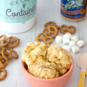 Pumpkin Beer Ice Cream with Pretzels and Marshmallows -- Pumpkin spice is nice, but pumpkin beer is better! This Pumpkin Beer Ice Cream is packed with pumpkin flavor, along with plenty of pretzels and marshmallows | wearenotmartha.com