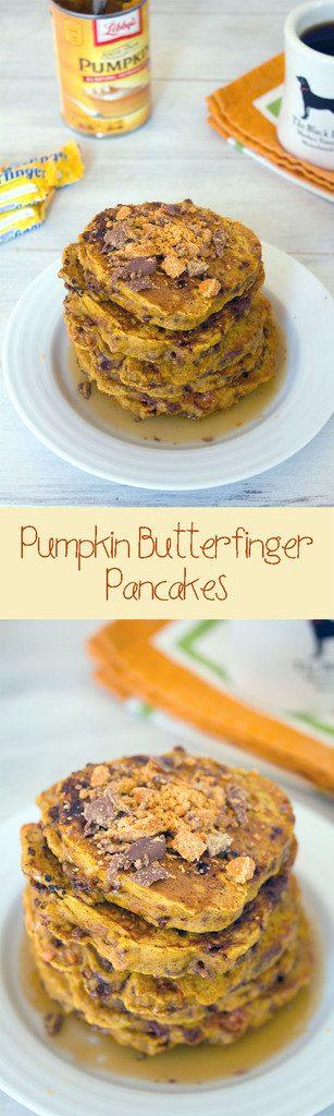Pumpkin Butterfinger Pancakes -- It doesn't get any better than pumpkin and candy for breakfast! | wearenotmartha.com