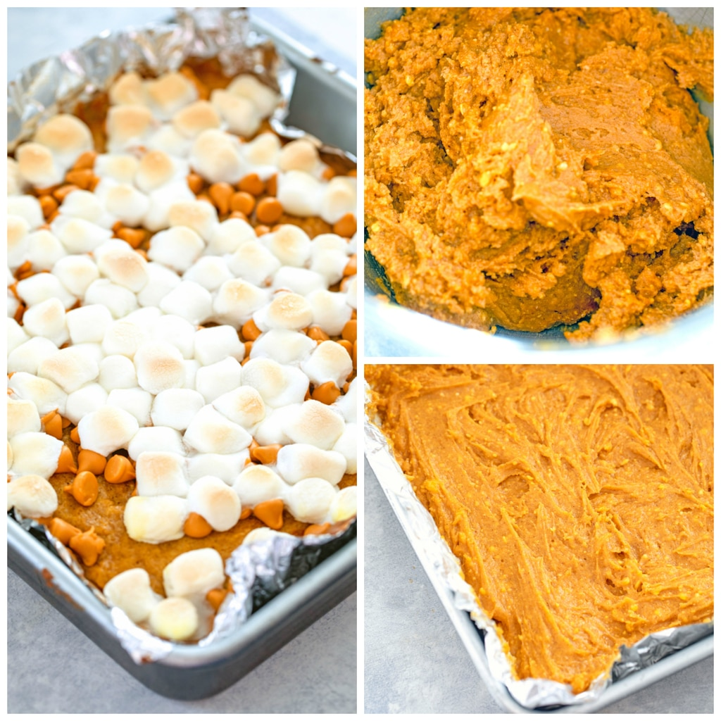 Collage showing process for making pumpkin butterscotch blondies, including an image of orange batter in bowl, an image of batter spread in pan, and an image of pumpkin blondies baked and topped with butterscotch chips and toasted marshmallows