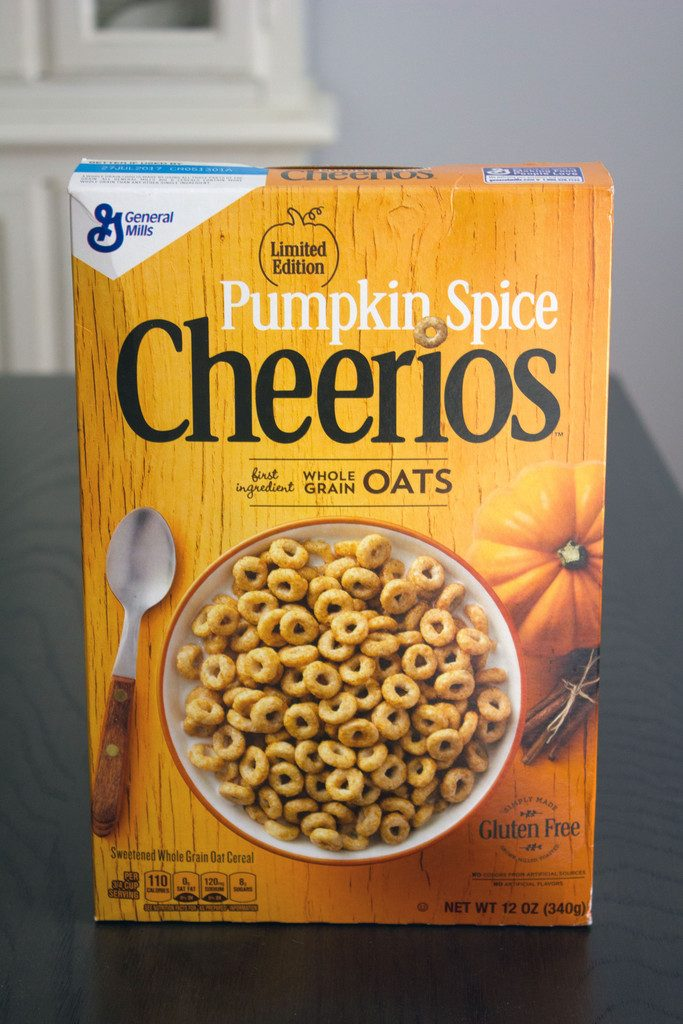 Head-on view of a box of Pumpkin Spice Cheerios