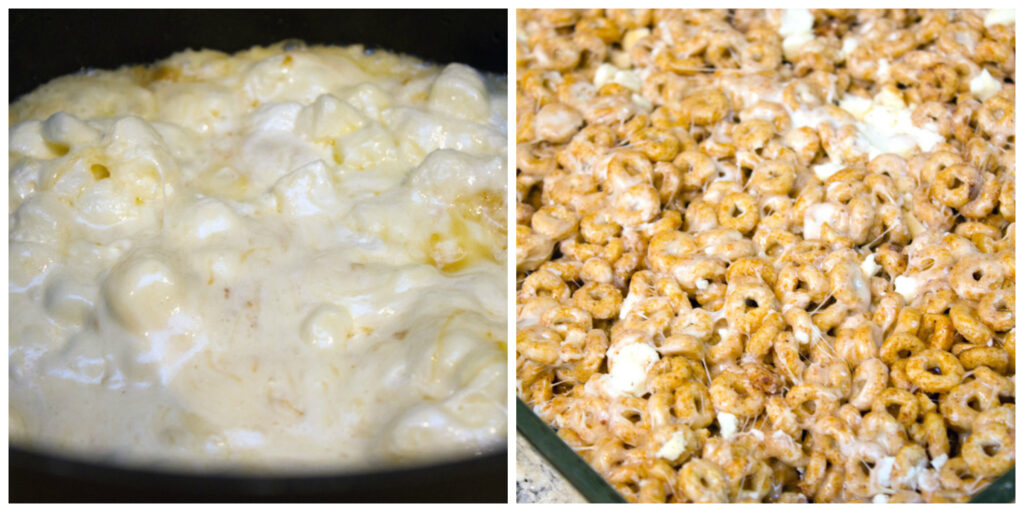 Collage showing process for making pumpkin spice Cheerios treats, including marshmallows melting with butter in saucepan and Cheerio and marshmallow mixture resting in pan
