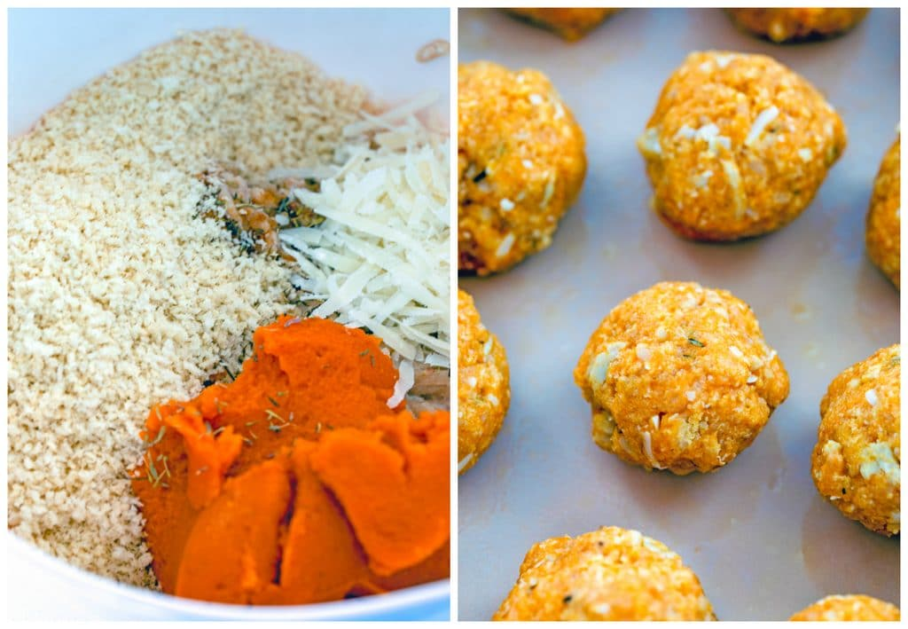 Collage showing process for making pumpkin chicken meatballs, including all meatball ingredients in a bowl and pumpkin chicken meatballs formed in a baking dish