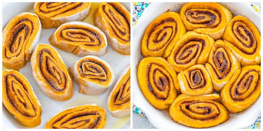 One photo showing sliced cinnamon rolls in a pie dish and a second photo showing pumpkin cinnamon rolls just baked and out of oven