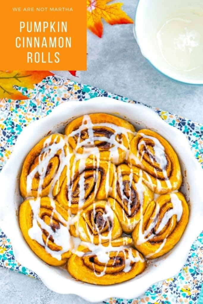 These Pumpkin Cinnamon Rolls will make getting out of bed on a chilly fall morning incredibly easy! | wearenotmartha.com #cinnamonrolls #pumpkinrecipes #brunchrecipes #cinnamonbuns