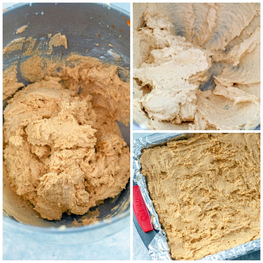 Collage showing process for making pumpkin cookie dough, including sugar and butter creamed in bowl, finished pumpkin cookie dough in bowl, and cookie dough pressed over graham cracker crust in pan