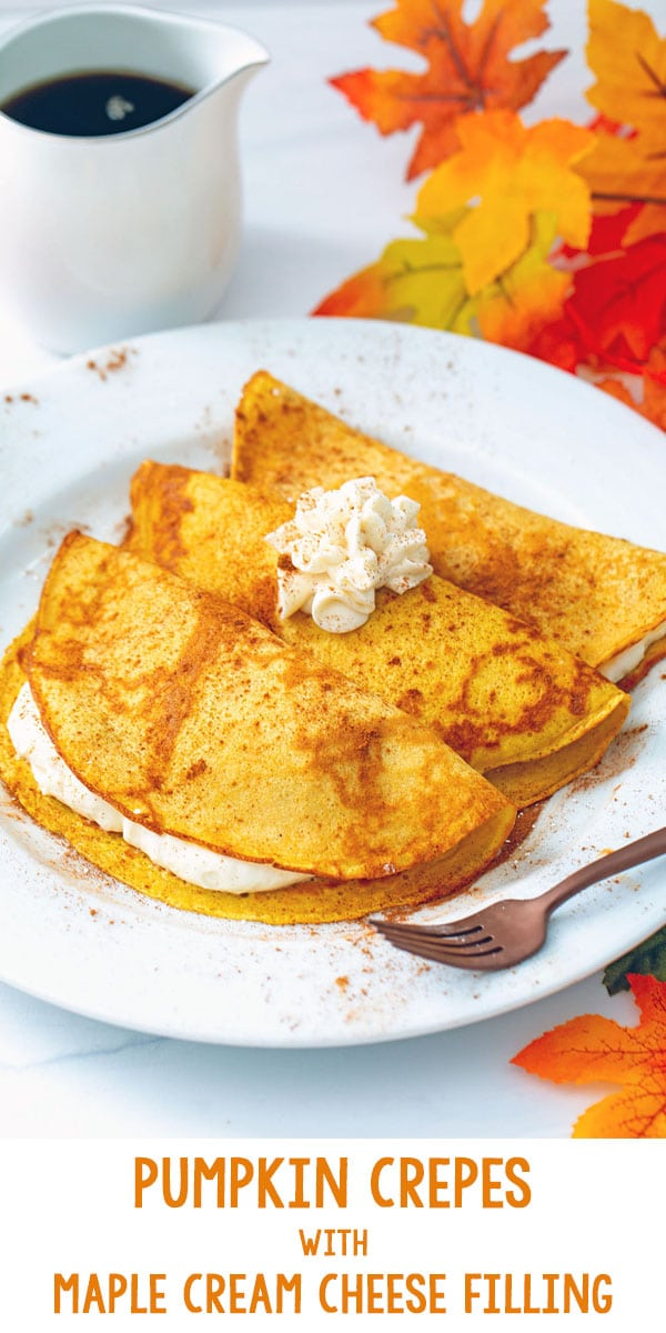Pumpkin Crepes with Maple Cream Cheese Filling