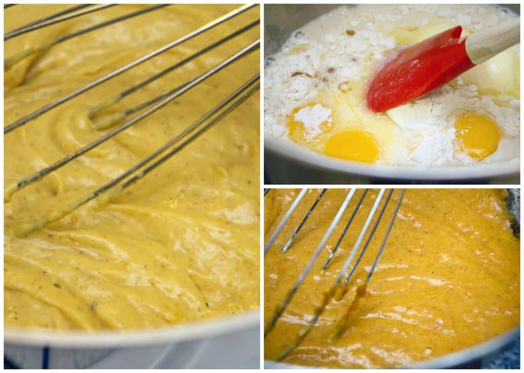 Collage showing process for making pumpkin custard, including egg and flour mixture, pumpkin puree mixed into mixture, and custard thickening and being whisked over heat