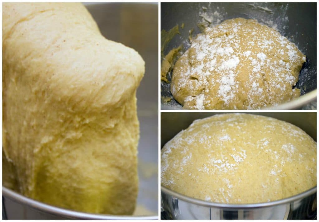 Collage showing process for making pumpkin doughnut dough, including kneading dough in mixer with dough hook, dough sitting in bowl, and dough rising in bowl