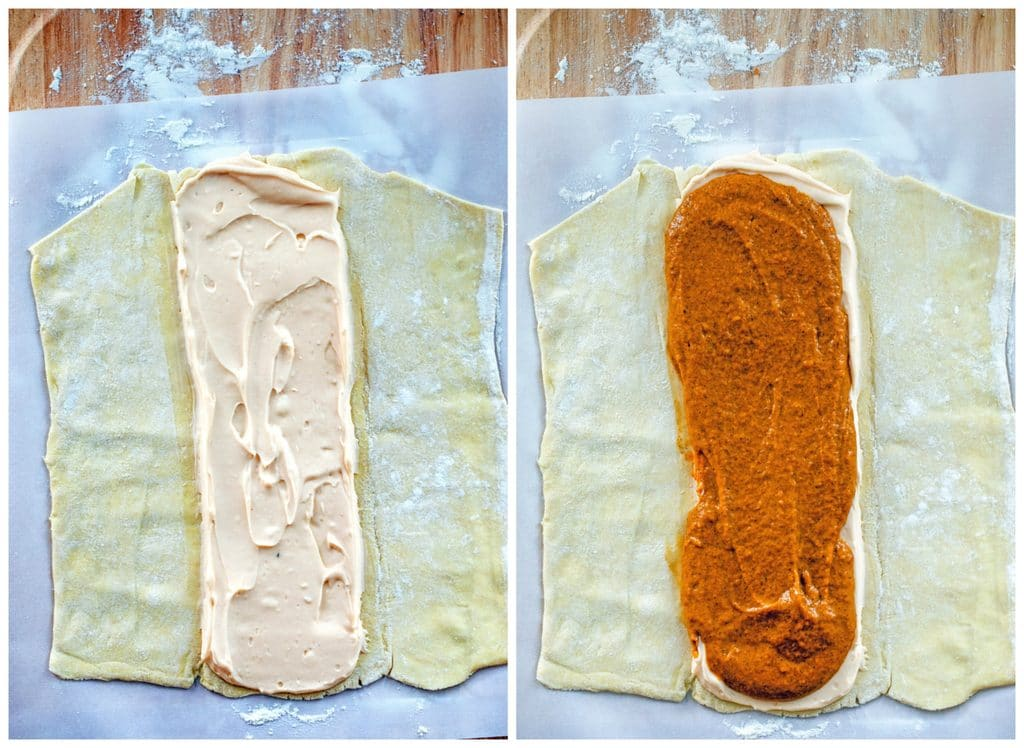 Collage showing process for making pumpkin eggnog danish, including photo of puff pastry dough rolled out with pumpkin eggnog cream cheese spread down the middle and photo of pumpkin pastry cream spread over the cream cheese