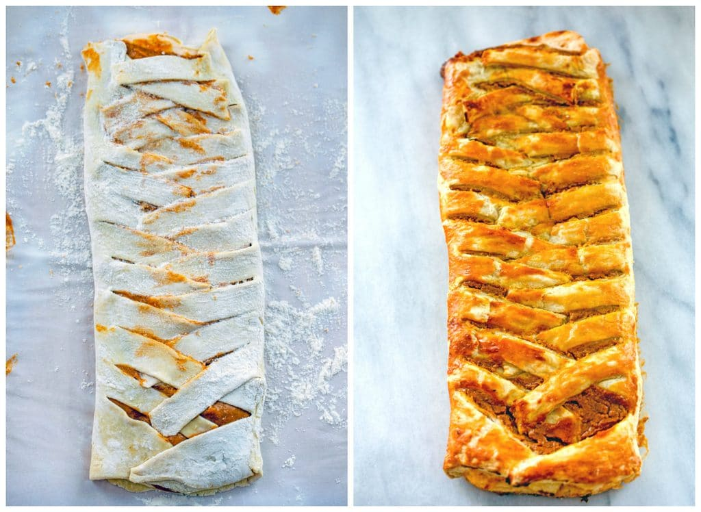 Collage showing process for folding pumpkin eggnog danish, including puff pastry braided and puff pastry just our of the oven