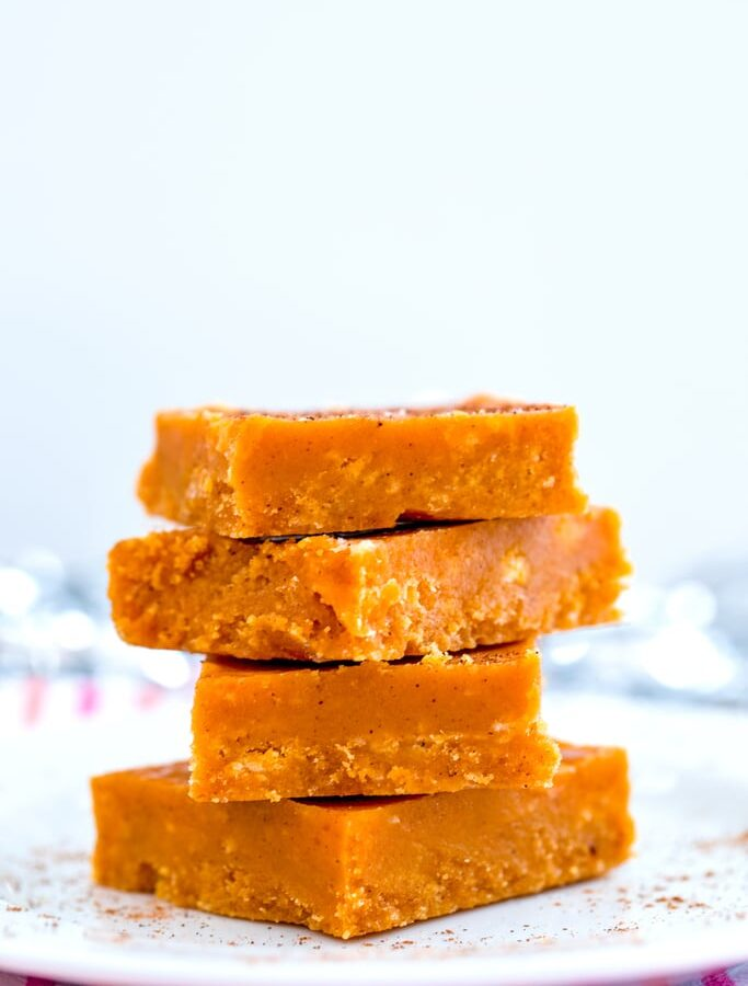 Pumpkin Fudge -- With pumpkin season in full swing, you need this Pumpkin Fudge in your life. Made without fluff, it's perfect crumbly and melt-in-your-mouth delicious | wearenotmartha.com
