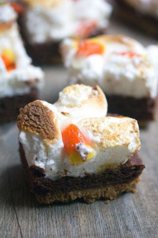Pumpkin Kahlua Toasted Marshmallow Brownie Bars