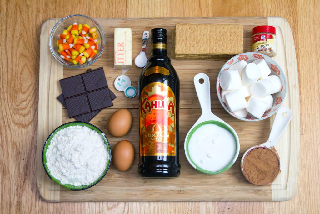 Pumpkin Kahlua Toasted Marshmallow Brownie Bars Ingredients