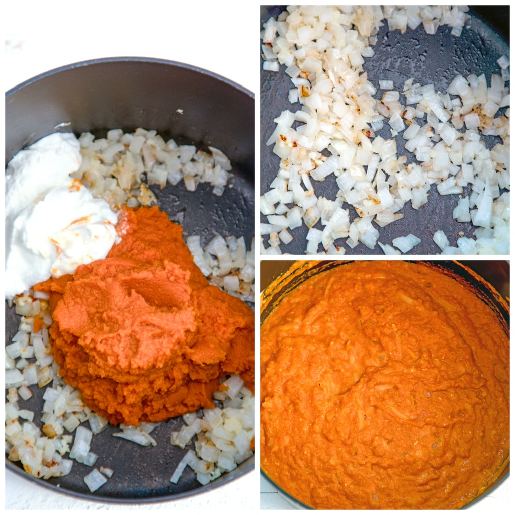 Collage showing process for making pumpkin mac and cheese, including onion and garlic sautéing, pumpkin and Greek yogurt added in to onion, and ingredients stirred together into a sauce