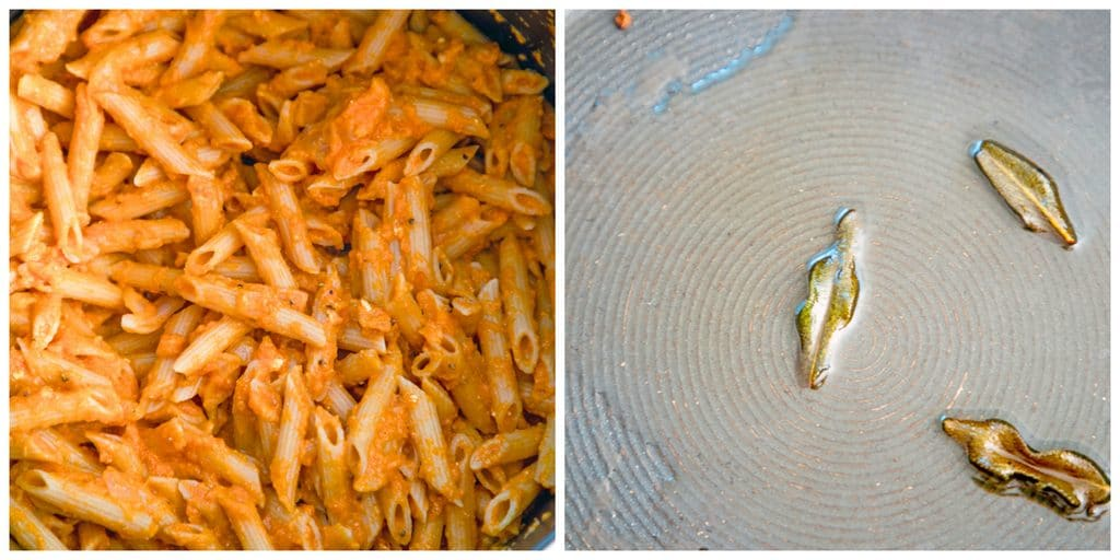 Collage showing photo of penne coated in pumpkin sauce and sage frying in a pan