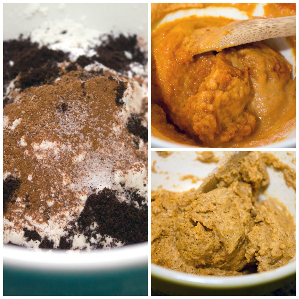 Collage showing batter making process for pumpkin mug cake, including dry ingredients in bowl, pumpkin and wet ingredients in bowl, and batter combined together in bowl